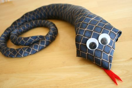 Stuffed snake from old ties! I don't like snakes, but Jacob might think this is neat.