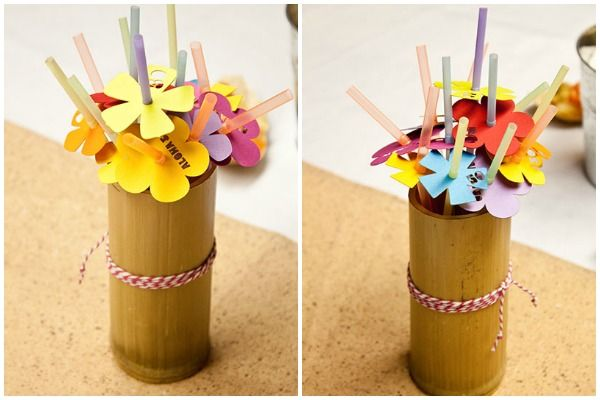Décor: Tropical Paper Flower Straws  {via Piggy Bank Parties}