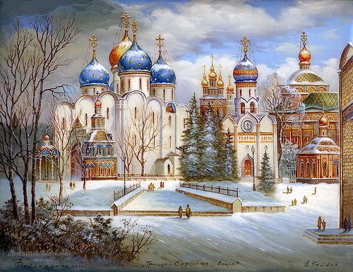 Gold domes of Russia – painting on lacquer boxes. The work of Fedoskino artists