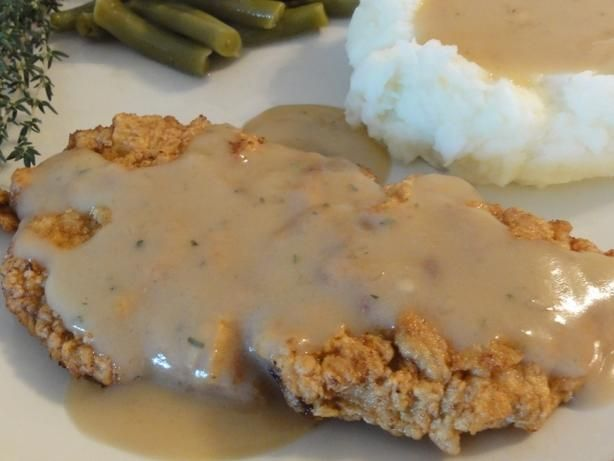 Chicken Fried Steak, from Alton Brown:  http://www.foodnetwork.com/recipes/alton-brown/chicken-fried-steak-recipe/index.html