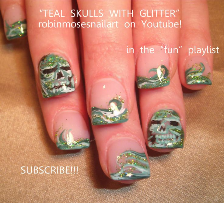 Google Image Result for http://3.bp.blogspot.com/-kxAnRva3N6Q/TwtSBSovo9I/AAAAAAAAA_8/lkzAqR4eXPg/s1600/TEAL%2BSKULLS%2BWITH%2BGLITTER.jpg: Skull Nails, Skulls Nail, Teal Nails, Ahhh Nails, Nailartgallery Nailsmag Com, Skull Nail Art, Com Www Nailsmag Nailart, Glitter, Teal Skulls