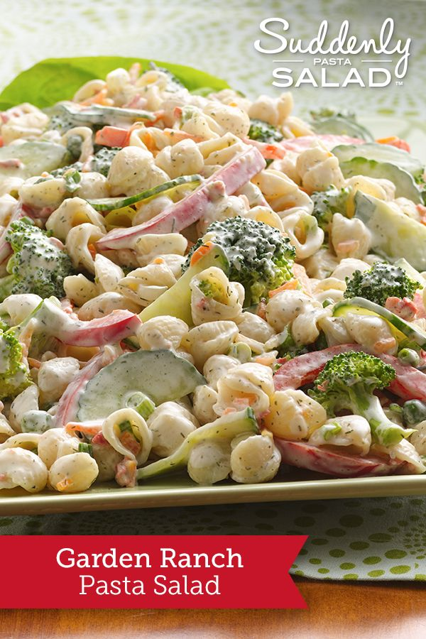 Garden Ranch Pasta Salad - Salad's a snap for tonight's barbecue! A box of Suddenly Salad® mix and a few veggies are all you need.