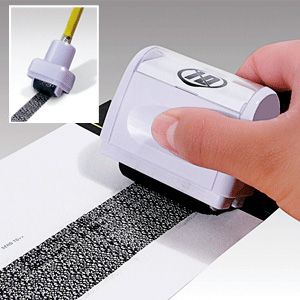 Roller Stamp ID Guard (Set Of 2) - The stamp is designed with a special pattern to hide confidential information printed beneath. Use to hide your address, social security number, account number or ID number on junk mail, bills and more. (Product Number JB6390) $19.98 CAD