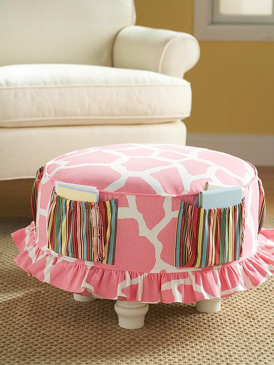 Slipcover a Tired Ottoman~ This would be a fun idea for a reading nook to keep the current books you're reading in the pockets or a kids playroom.
