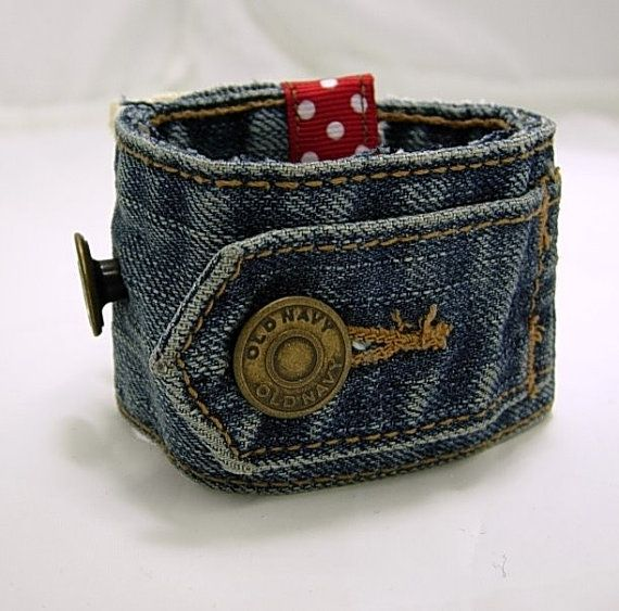 Items similar to Christmas In July Sale Recycled Denim Cuff on Etsy