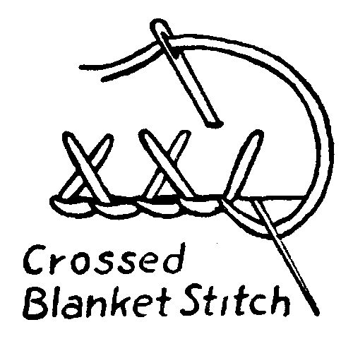 Crossed blanket stitch embroidery how to wool and