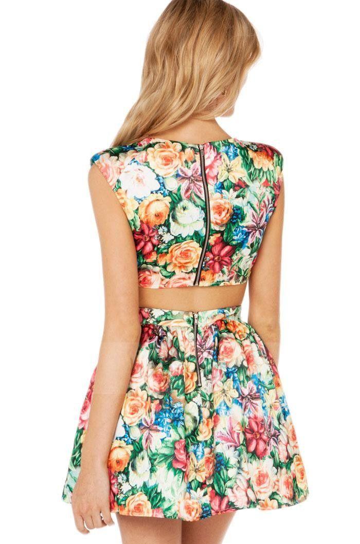 Sexy V-Neck Printed Pattern Sleeveless Mini Dress