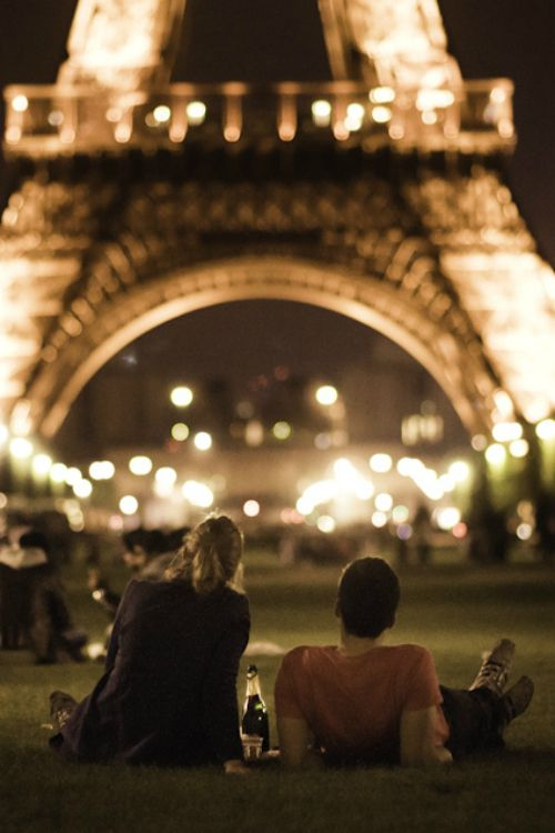 Paris Perfection - young love and the eiffel tower at night