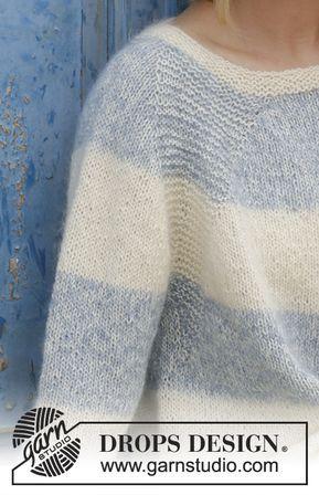 Gestrickter Pullover mit Raglanärmeln und Streifen, gestrickt von oben nach unten. Größe S - XXXL. Die Arbeit wird gestrickt in DROPS Alpaca und DROPS Kid-Silk.