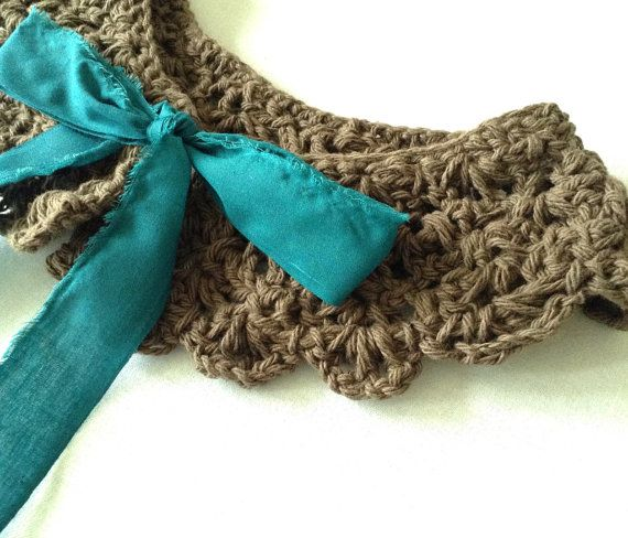 Chocolate and mint romantic crochet peter pan collar. on Etsy, $15.00