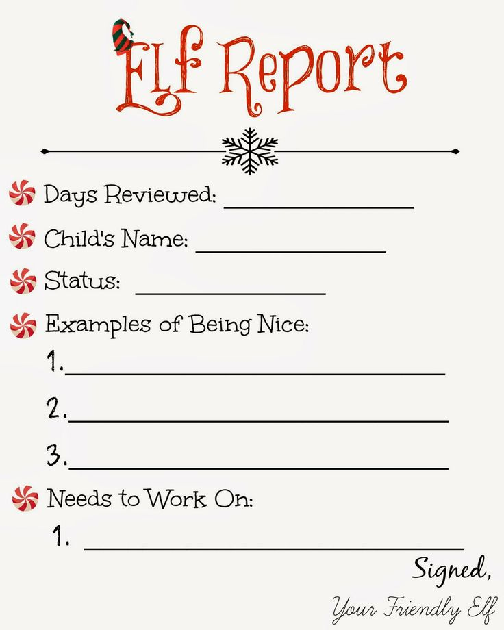 Elf Report Printable | Christmas | Pinterest | Elves and