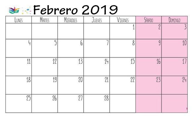 Calendario Febrero 2019 Para Imprimir | Calendario Febrero ...