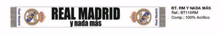 BUFANDA REAL MADRID Y NADA MAS BLANCA  Este artículo lo encontrará en nuestra tienda on line de complementos www.worldmagic.es info@worldmagic.es 951381126 Para lo que necesites a su disposición