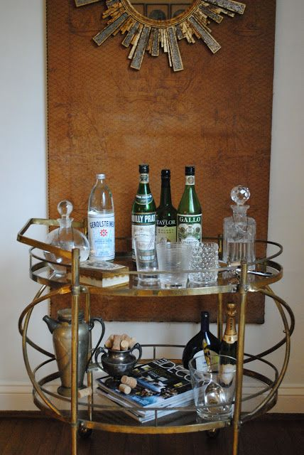 a perfect gray  bar cart envy: love her mirror and panel...
