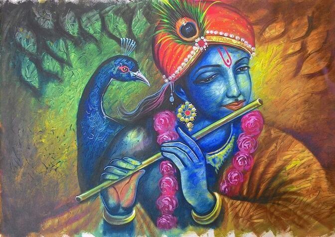 Barato Frete Grátis Venda Quente Moderna Da Parede Pintura Para Ondular Krishna Com Pavão Decoração Da Casa Da Lona Pintura…