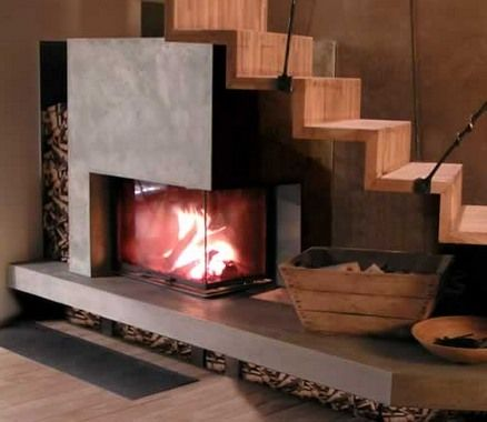 Modern rectangle two sided corner fireplace under the for Chimenea bajo escalera