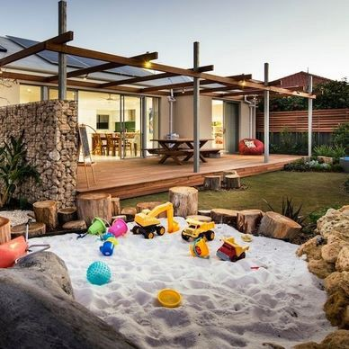 kids built in sand pit more - Sandbox Design Ideas