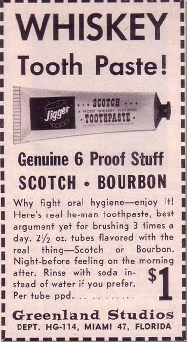 Who needs bacon mouthwash when you can have Whiskey Tooth Paste!