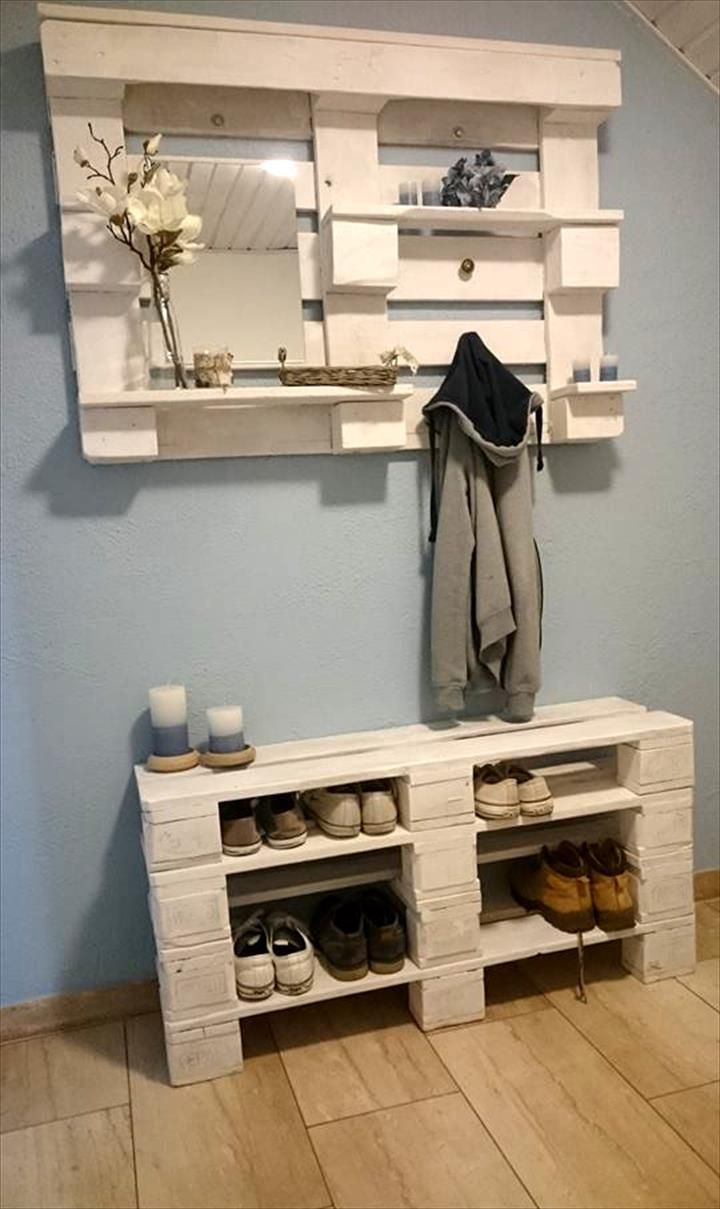 Repurpose wooden pallets to create a DIY entryway storage solution.