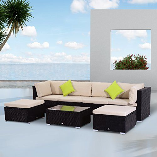 Fabulous Outsunny PCs Rattan Garden Furniture Patio Outdoor Wicker Weave Sofa Set Cushioned Couch