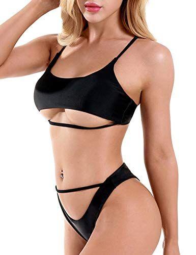 4f7df126cadef DaiLiWei Womens Strappy Swimsuit Sexy Cheeky Bathing Suit Padded Swimwear  Brazilian Thong Bikini Set