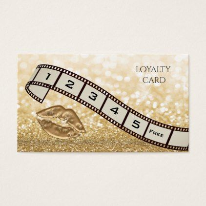 Loyalty card  chic glittery filmstrip gold lips - #chic gifts diy elegant gift ideas personalize