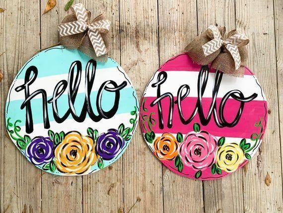 Hello Spring Floral Circle Door Hanger 1000 In 2020 Letter Door Hangers Door Wreath Hanger Summer Door Hanger