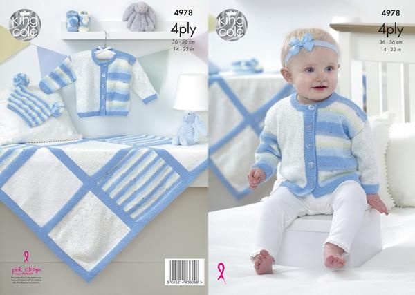 Create these adorable garments for your little one in a variety of wonderful colour combinations using King Cole Big Value Baby 4 ply - Now available in Spot and Stripe!