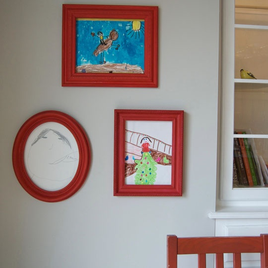 "Smart! ""I'm always on the lookout for new ways to display my kids' art so that it looks neat but can be easily switched out when they bring home a new batch from school. Fortunately, I've amassed a big collection of thrift store frames, and this week I figured out how to use those frames for their art in a really simple way. The key? Sheet magnets!"""