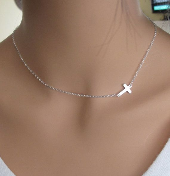 SALE 40 OFF Sideways Cross in Sterling Silver by RedEnvelopeGifts, $32.00: Miley Cyrus, Vanessa Hudgens, Crosses Necklaces, Sideways Cross Necklaces, Style, Sideways Crosses, Jewelry, Simple Necklace, Sterling Silver Necklaces