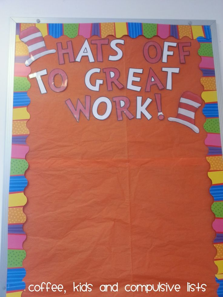 Dr. Suess bulletin board idea. They used CTP's Playful Patterns Border.