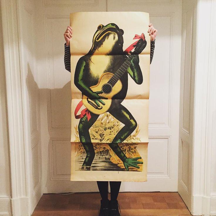 La grenouille guitariste. The guitarist Frog. #lithography #lithographie #wentzel
