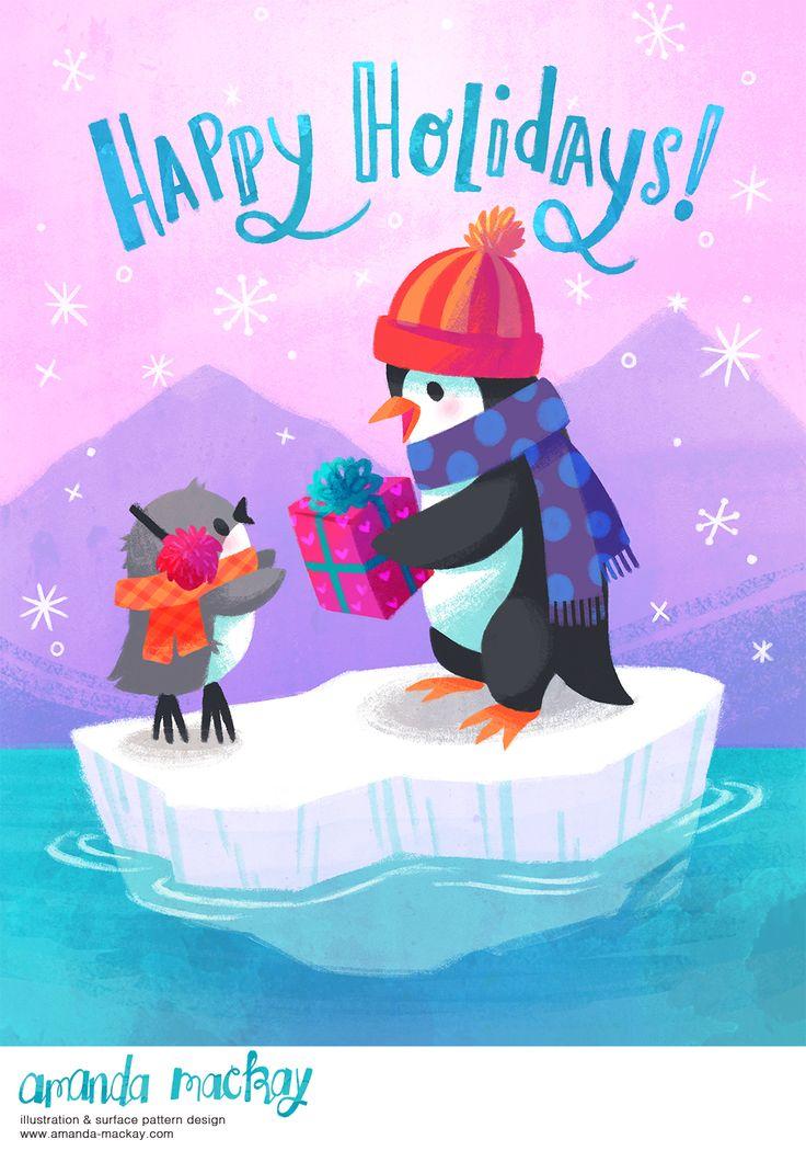 Happy Holiday Penguins - by Amanda MacKay Illustration
