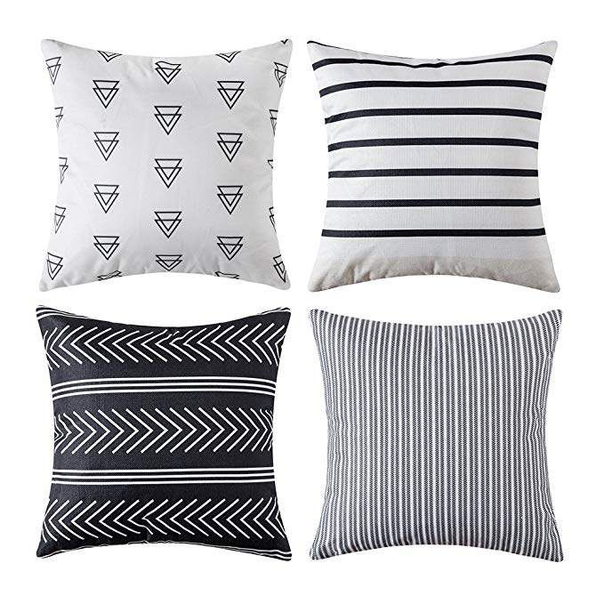 Miulee Set Of 4 Decorative Geometric Outdoor Pillow Covers Modern Cotton Cushion Covers European Geometric Pillow Covers Geometric Pillow Outdoor Pillow Covers