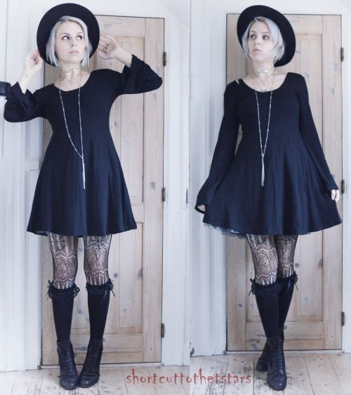 """""""In the old days, if a witch betrayed her coven they would kill her""""Dress from ASOSHat from H&MSocks and tights from BodylineChoker from New Age Blackbird's BoutiqueThrifted boots"""