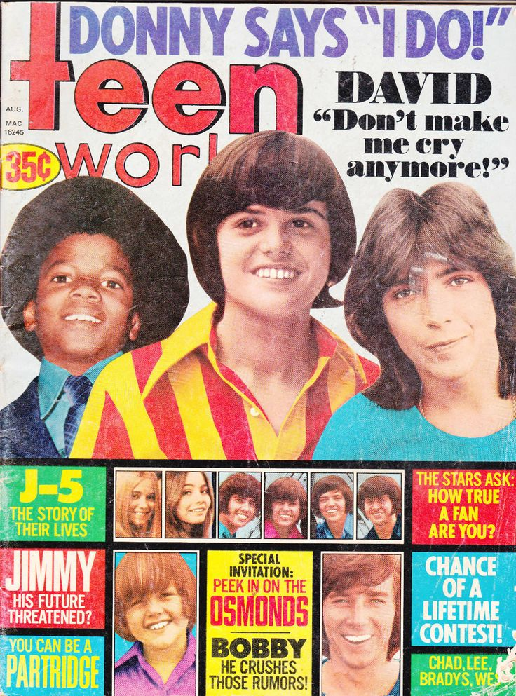Teen World Magazine Donny Osmond Michael Jackson David Cassidy August 1972