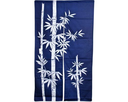 """Japanese 60"""" Navy Indigo TAKE Bamboo Doorway Room Divider Curtain Tapestry Noren 