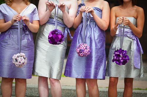 Purple & silver bridesmaid dresses - Photo by Heather Parker Photography