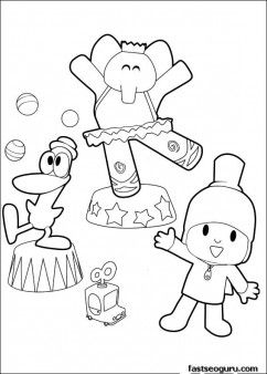 Print out coloring pages Pocoyo Pato and Elly play surkres - Printable Coloring Pages For Kids