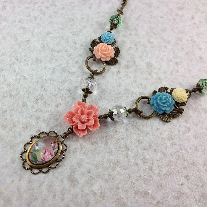 Spring Bouquet Floral Photo Pendant Necklace