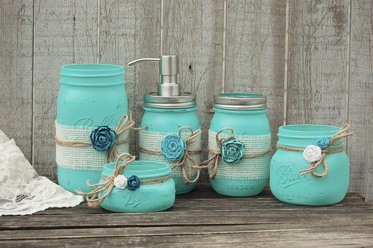 Aqua mason jar bathroom set - diy this and use color to match rest of decor