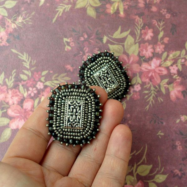 Dangle Earrings – Antique Silver- embroidered earrings – a unique product by Tamarchi on DaWanda