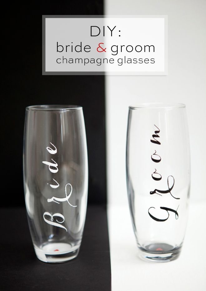 DIY Bride and Groom Champagne Glasses #marthastewartcrafts #marthastewart