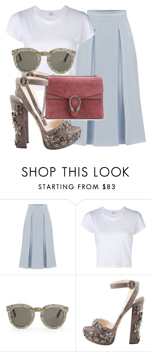 """""""Sem título #2124"""" by mariandradde ❤ liked on Polyvore featuring Símo, RE/DONE, Yves Saint Laurent, Prada and Gucci"""