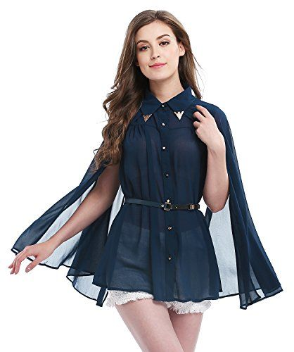 """New Trending Outerwear: Womens Summer Sun Protection Cloak Shirt Chiffon Blouse Tops, Blue. Women's Summer Sun Protection Cloak Shirt Chiffon Blouse Tops, Blue  Special Offer: $17.99  144 Reviews Material: ChiffonBlack size: Bust: 40.1"""", Length: 27.6"""".Blue and Ivory size: Bust: 44.8"""", Length: 28"""", Belt Length: 35"""".Unique style, make you..."""