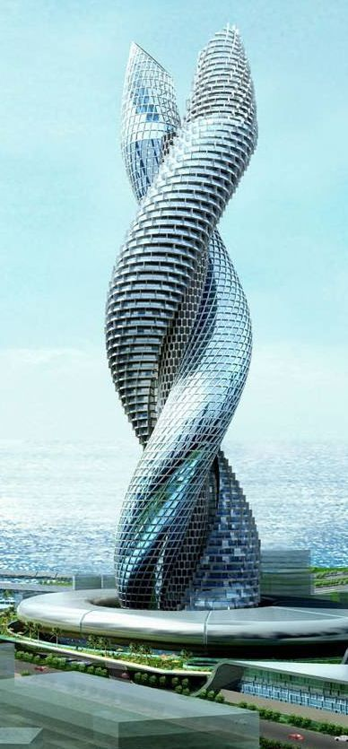 """Amazing Building in Kuwait.  A different pinner identified it by the name of """"Tower of Cobra."""" That certainly seems to be an appropriate name for it; I hope the info is accurate."""