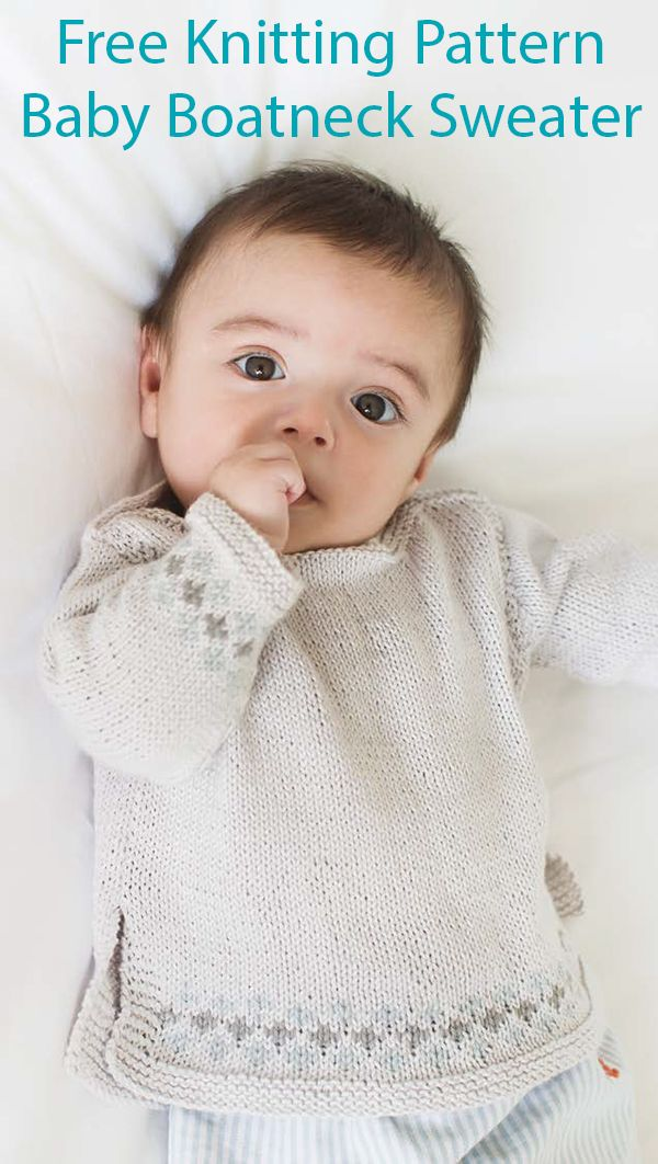 Free Knitting Pattern for Easy Baby Boatneck Sweater ...