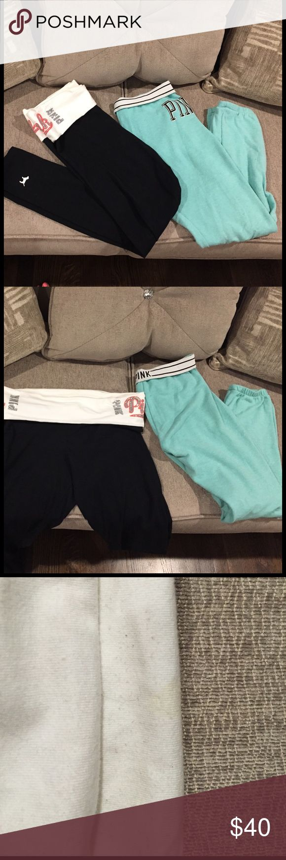 2 for $35! Pink Victoria secret 2 for $35! Pink bling yoga leggings worn few times little stain on inside fold over flap. Paired with pink skinny sweat pant worn still in great condition has fold over skinny waist. Yoga pant is size Medium, skinny sweats are size Small. PINK Victoria's Secret Other