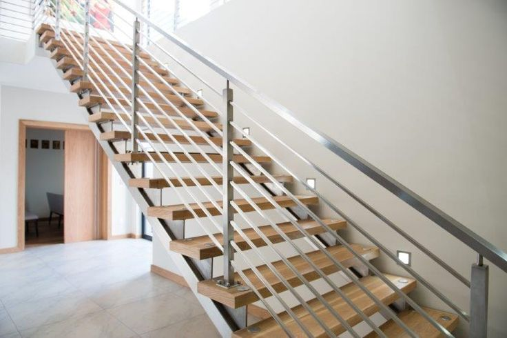custom stainless steel staircase, timber treads and SANS compliant stainless steel balustrades