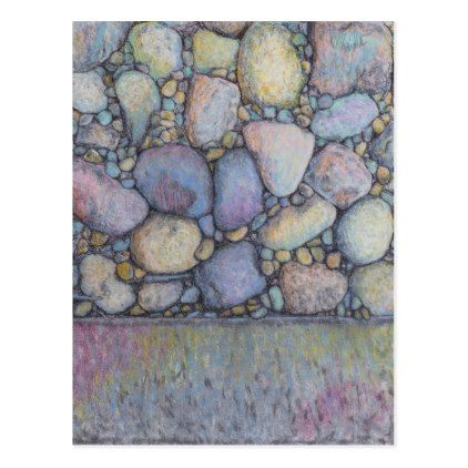 Pastel River Rock and Pebbles Postcard - drawing sketch design graphic draw personalize